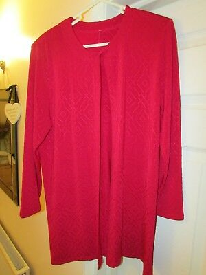 Ladies  Red Trousers Suit With Long Jacket, Carmelle, Size 12