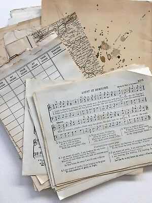 Antique Ephemera Lot Vintage Letterhead Documents EPHEMERA JUNK JOURNAL PAPER