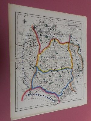 100% Original Herefordshire Fox Hunting Map By Hobson C1860/s Vgc Coloured