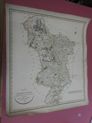100% Original Large Derbyshire Map By John Cary  C1804 Original Colour