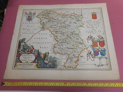 100% Original Large Derbyshire Map By J Blaeu C1645 Early Hand Colour