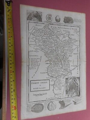 100% Original Derbyshire Map By H Moll C1734 Scarce