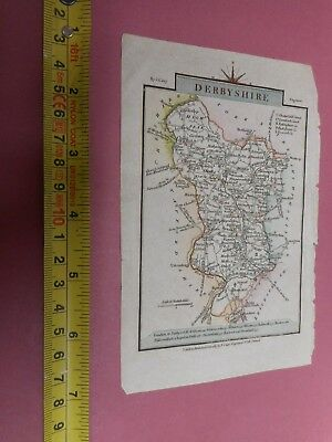 100% Original Derbyshire Map By Cary C1817 Vgc Hand Coloured Scarce