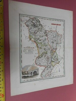 100% Original Derbyshire Map By Fullarton C1840 Vgc Hand Coloured Railways