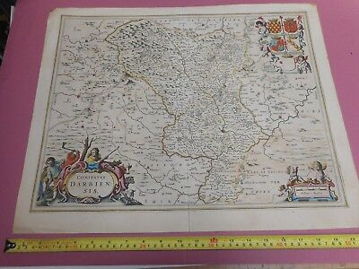 100% Original Large Derbyshire Map By Jansson C1659 Early Hand Colour