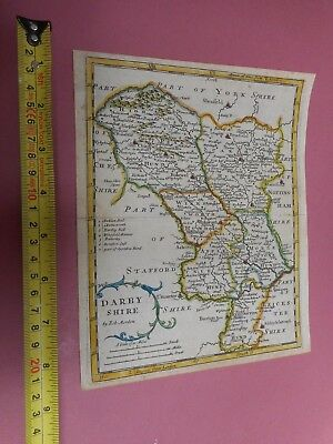 100% Original Minature Derbyshire Map By Morden C1720 Vgc Hand Coloured