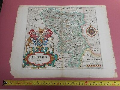 100% Original Derbyshire Map By Saxton Hole  C1637 Vgc Scarce Low Uk Post