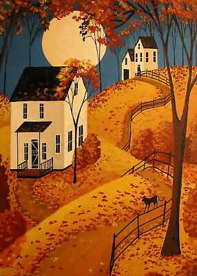 Black cat leaves Fall Autumn country moon  Giclee ACEO print folk art Criswell