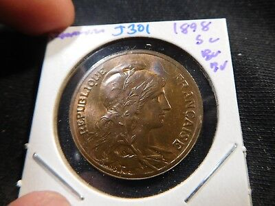J301 France 1898 5 Centimes BU Brown