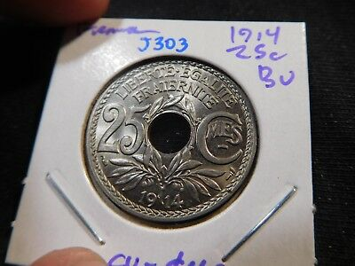 J303 France 1914 25 Centimes BU Catalog Value=$40