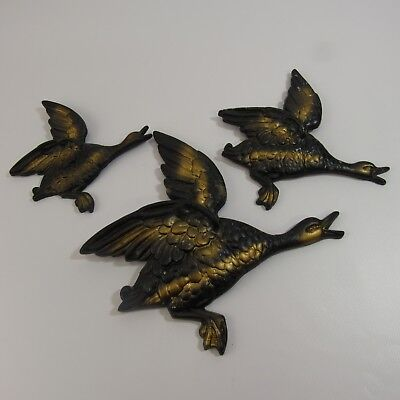 Vintage Trio of Flying Geese Wall Plaques Metal Goose Family Ducks MCM Man Cave