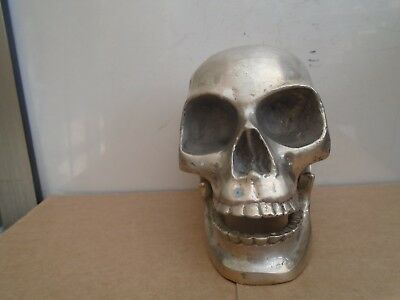 Awesome heavy vintage nickel silver skull with hinged jaw   Signed by Artist WOW
