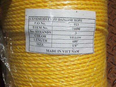 """1/4"""" x 600' Twisted 3-Strand Yellow Poly Rope NEW"""