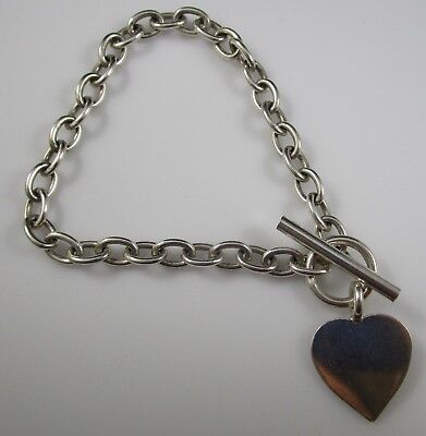 """Heart Toggle Clasp Bracelet Sterling Silver 8"""" Long 17.6 Grams"""