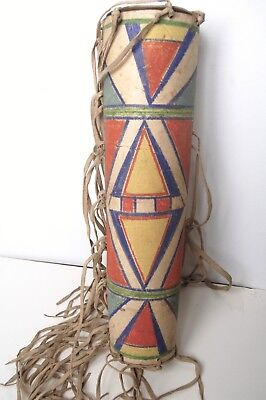 OLD RAWHIDE PAINTED CONTAINER,Parfleche