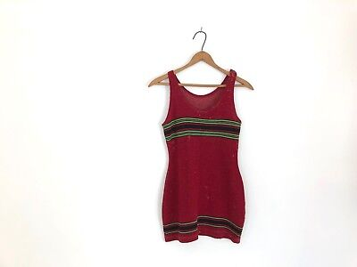 Vintage 1920s Red Green Swim Suit Swimsuit Wool 20s Swimming Bathing Costume Top