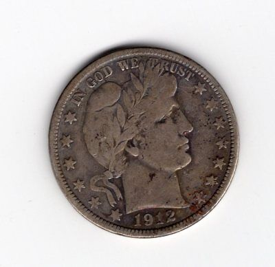 1912 P 50C Barber Half Circulated Condition 90 % Silver US Coin See Scans