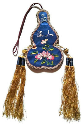 Antique Chinese Silk Embroidery Robe Scent Purse Gourd 19th Qing Embroidered Bag