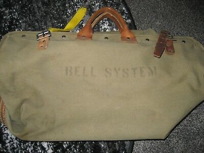 Vintage BELL SYSTEMS LINEMAN canvas and leather tool bag replaced strap