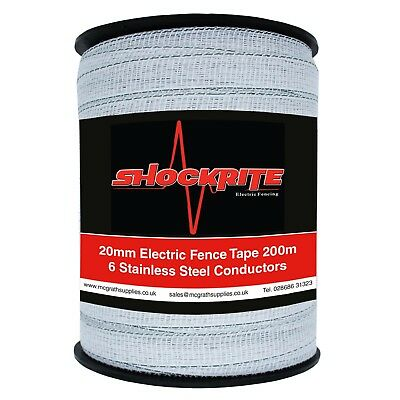 Electric Fence Tape 200m x 20mm ShockRite White Fencing