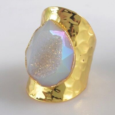 Size 7 Natural Agate Druzy Titanium AB Faceted Ring Gold Plated T073837