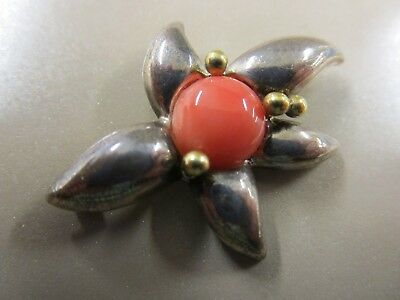 """Vintage Tiffany & Co. Sterling, 18k Gold and Coral Brooch. 1 1/2"""" x 1 1/8"""""""