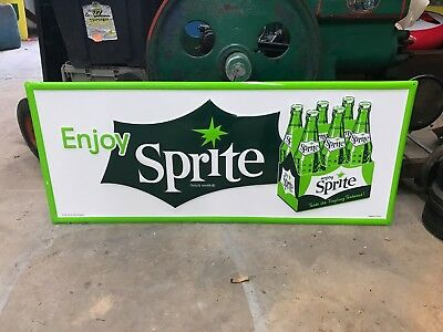 "LARGE ""SPRITE"" EMBOSSED METAL ADVERTISING SIGN, 36""x 15"" (NEAR MINT)"