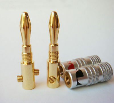 24X Nakamichi Speaker Banana plug Adapter 4mm Wire connector 24K Gold Plated Set