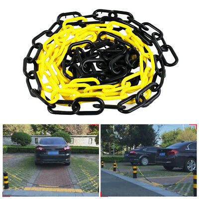 Yellow Black Plastic Safety Chain 6mm x 4 meter roll plastic link warning chain