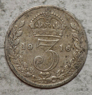 Great Britain 1916 3 Pence Silver Coin