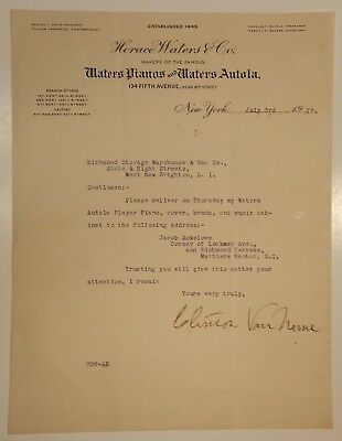 RARE 1917 Signed Letter Horace Waters Pianos Waters Autola Player Piano