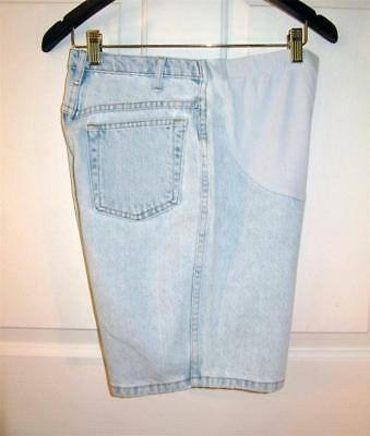 Sz 10 Duo Maternity Womens  Faded Blue Denim Cotton Shorts 10