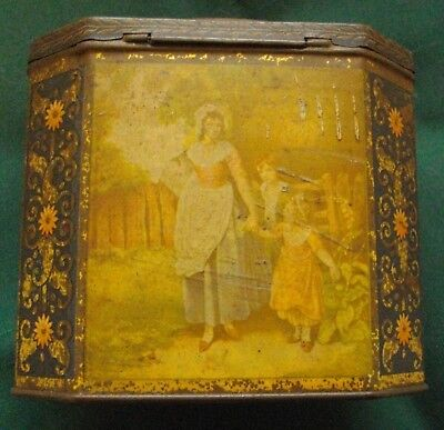 Going Out Milking Arnotts Biscuit Tin, hinged lid, octagonal shape, circa 1930's