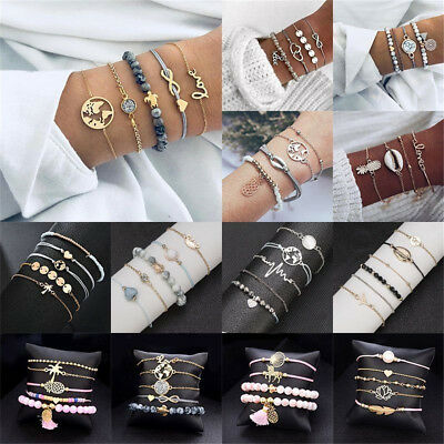 Charm Women Jewelry Set Rope Natural Stone Crystal Chain Alloy Bracelets Gift