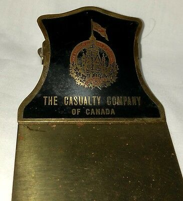 Old Vintage Canadian Insurance Company Advertising Office Paper Clip Note Clamp