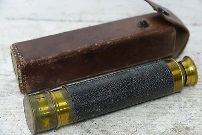 Very Old Brass Telescope In Leather Case - L@@k
