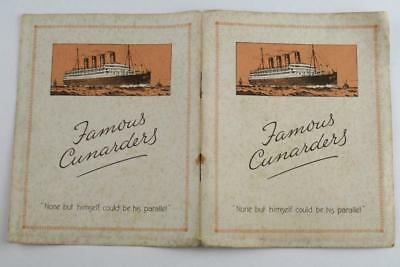 Vintage 'FAMOUS CUNARDERS' Steam Ship Advertising Booklet. Cunard Line c1920's