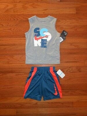 NWT Nike Little Boys 2pc grey shirt and short outfit set, size 2T 3T 4 5 6 7