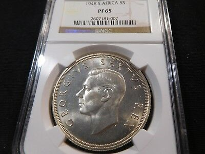 K7 South Africa 1948 5 Shilling Crown NGC PROOF-65