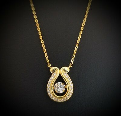 14k Yellow Gold Over 925 Sterling Silver Dancing Round Diamond Pendant Necklace