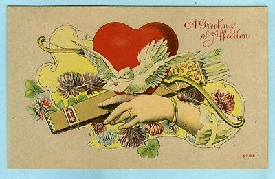 """Vintage, """"A greeting of Affection"""", Ladies Hand Holding Bow & Arrows, Dove.."""