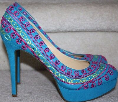 aae210022967 Gianni Bini NEW Turquoise Pink Green Suede Pumps Platform Heels Shoes NWOB  9.5M