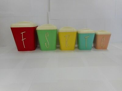 1950-60S Mid Century Gay Ware Five Piece Harlequin Canister Set