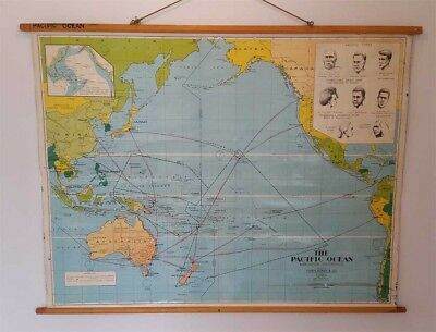 Vintage Map | Original School Map | The Pacific Ocean Mercators Projection