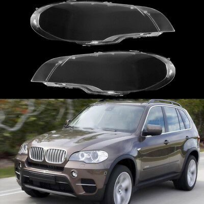 For BMW X5 E70 2008-13 Headlight Lens Lamp Cover Headlamp Shade Right/Left Pair
