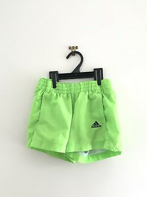 Girls Adidas Gym Shorts Bright Green Neon Casual Sports Size 7-8