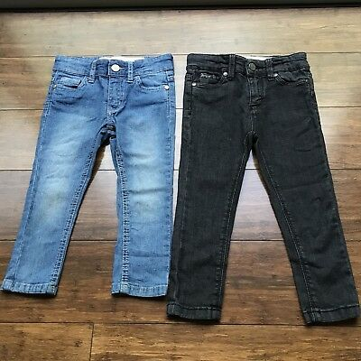 Girls Cotton On Denim Jeans x2 Pairs Black Blue Full Length Casual Cute Size 2
