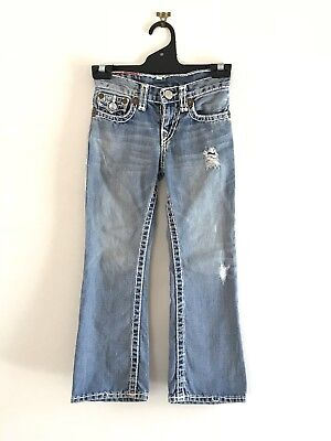 Girls True Religion Jeans Blue Denim Distressed Ripped Full Length Cute Size 6