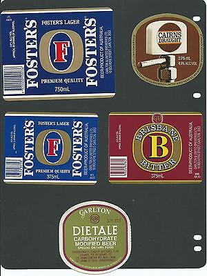 5 Assorted Beer Labels Old However New Labels Unused From Carlton Breweries