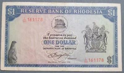 Reserve Bank of Rhodesia -  1 Dollar banknote 1978.  ............D197